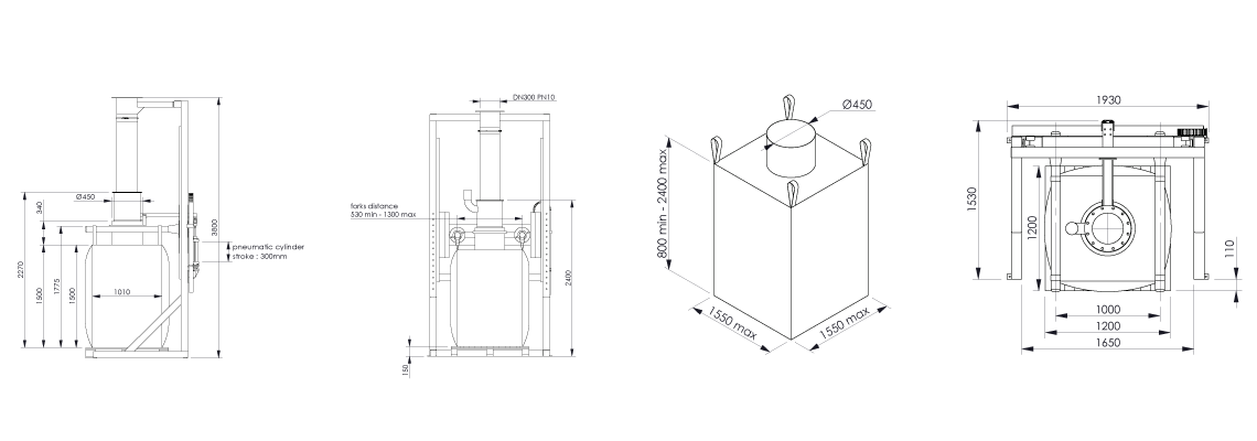 Big bag filling system Flowmatic 01 dimensions - Bulk powder handling