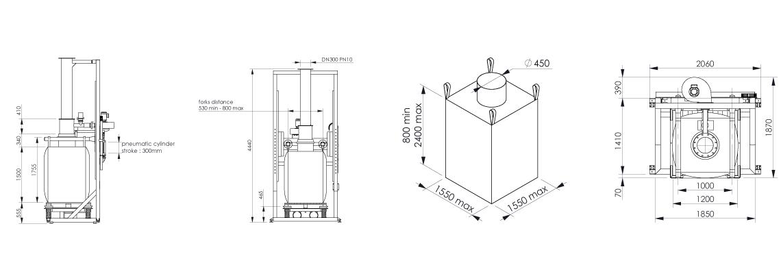 Big bag filling system Flowmatic 03 dimensions - Bulk powder handling