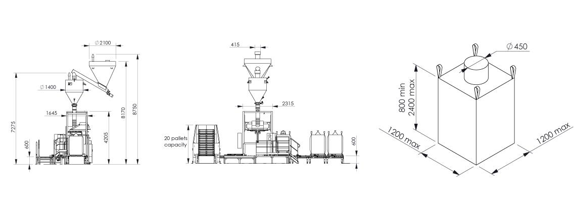 Big bag filling system Flowmatic 06 dimensions - Bulk powder handling