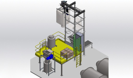 Frozen fruit discharger and crushing line