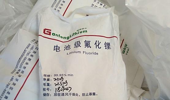 Lithium fluoride sack unloading