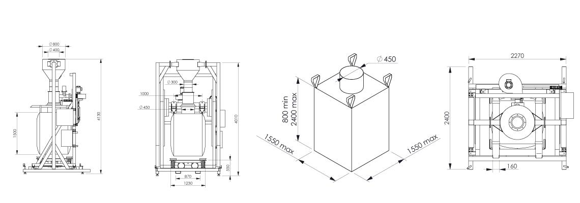 Big bag filling system Flowmatic 07 dimensions - Bulk powder handling