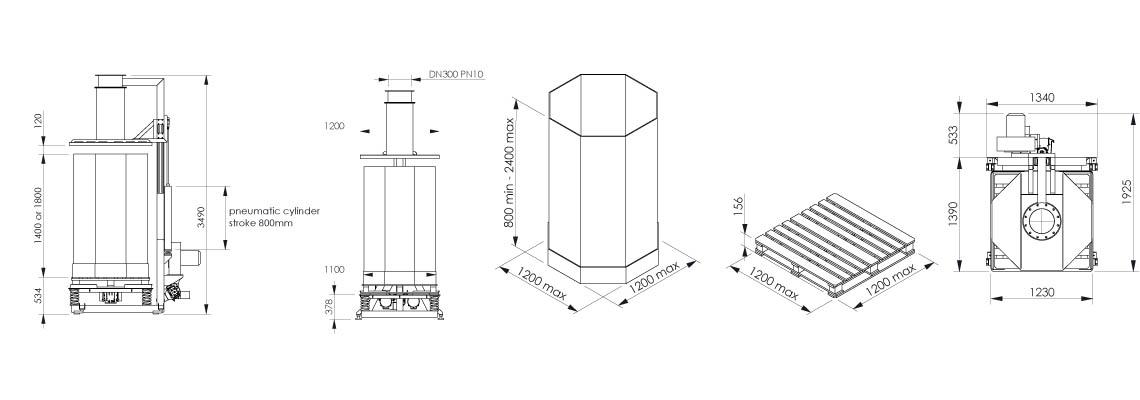 Octabin filling system layout OC1 - Bulk powder handling