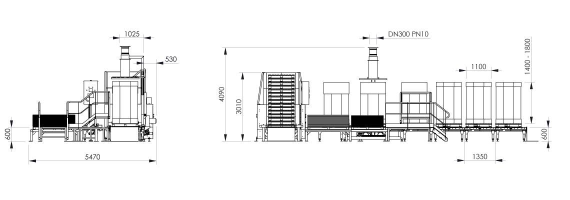 Octabin filling system layout OC2 - Bulk powder handling