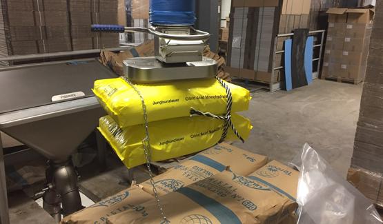 sack discharging manipulator sugar palamatic process