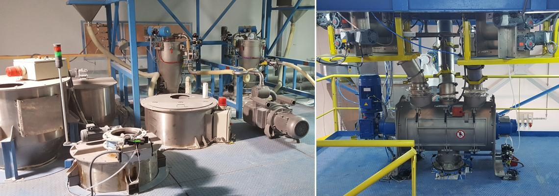 Raw material deconditioning for masterbatch mixture preparation incorporation extruder line