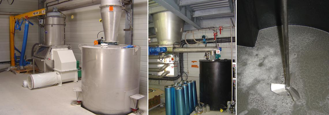 Discharge and pneumatic conveying of fluorinated derivatives