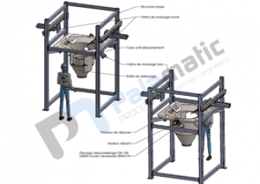 Low structure big bag discharger
