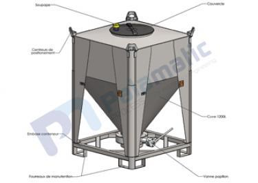 1200 liters storage container layout - Bulk material and powder handling