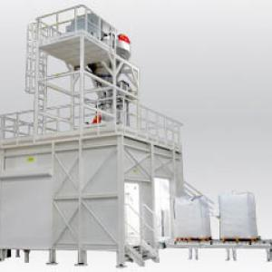 Discharging starch in truck for packaging automatic big bags zone atex