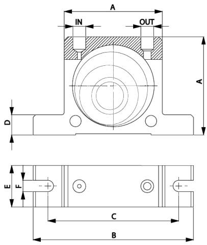 pneumatic roller vibrator layout